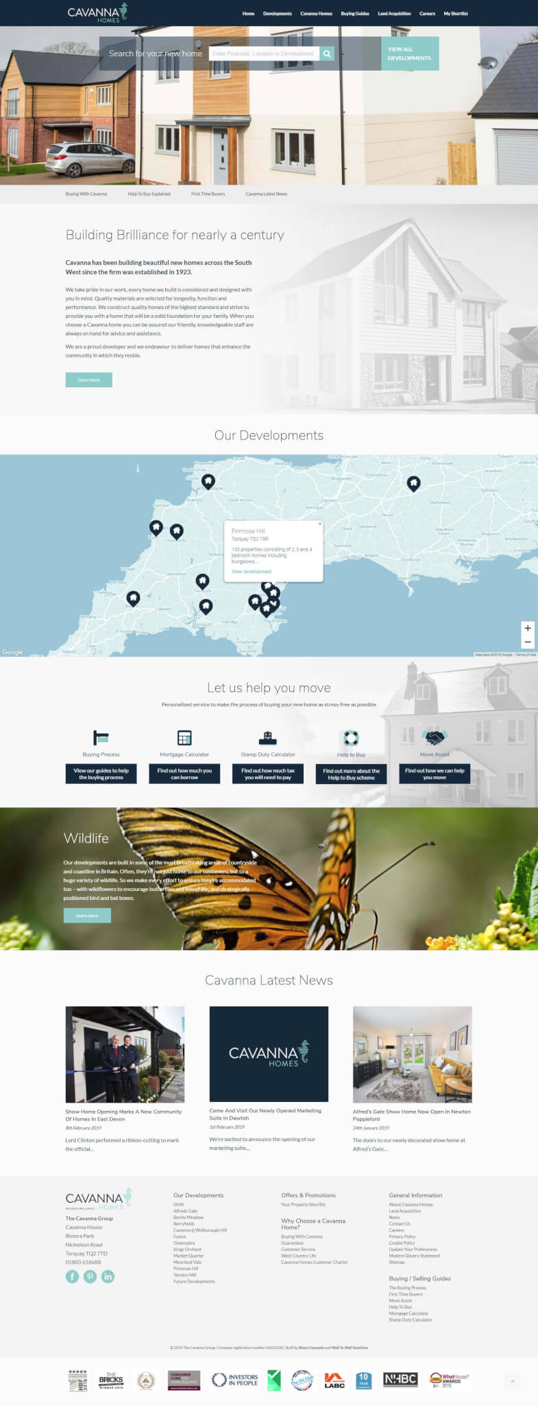 Cavanna Homes website 2019 design